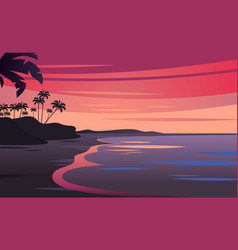 sunset on beautiful tropical seascape vector image vector image