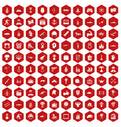 100 hero icons hexagon red vector