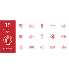 15 scanner icons vector image