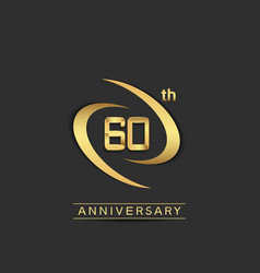 60 years anniversary logo style with swoosh ring vector