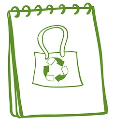 A notebook with a drawing of a recycled bag vector image