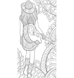 adult coloring bookpage a girl with a guitar vector image
