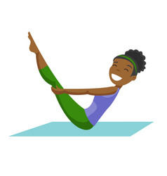 African-american woman doing fitness exercises vector