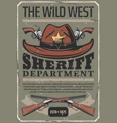 american wild west sheriff hat gun vector image