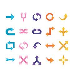 Arrows flat style bundle icons design vector