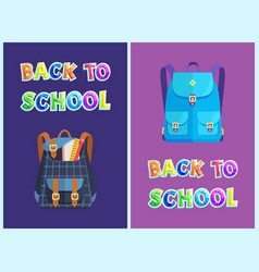 back to school bags set poster vector image