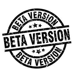 Beta version round grunge black stamp vector