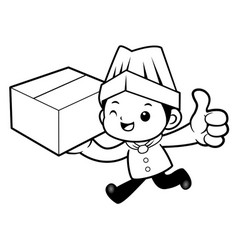 black and white funny cook mascot delivery is vector image