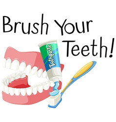 Brush your teeth with toothbrush and paste vector image