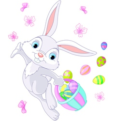 Bunny hiding eggs vector