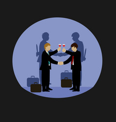 businessmen are holding hands and drinking wine vector image