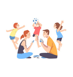 calm parents and mischievous children father and vector image