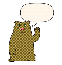 Cartoon bear and speech bubble in comic book style vector