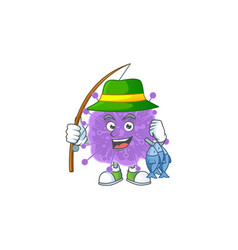 Cartoon character fishing coronavirus influenza vector
