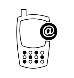 Cellphone with arroba device isolated icon vector