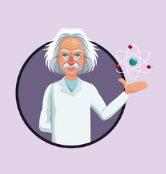 Character scientist physical and atom purple icon vector