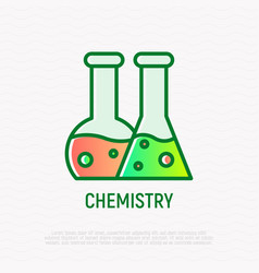 Chemistry thin line icon two beakers with liquid vector