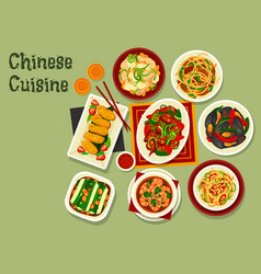 Chinese noodles with meat seafood and veggies vector