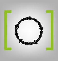 cirkular arrows sign black scribble icon vector image