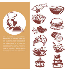 Common food beautiful chef and meal collection vector
