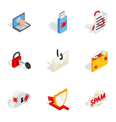 computer security icons isometric 3d style vector image
