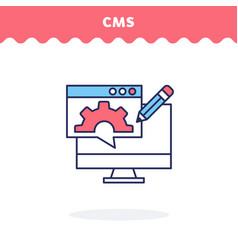 content management icon flat design ui vector image