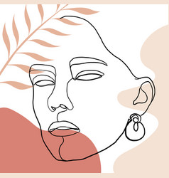 Continuous line drawing woman face fashion vector