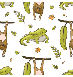 crocodile and monkey hand drawn grunge seamless pa vector image
