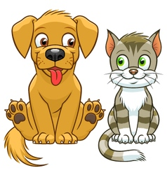 Cute cartoon cat and dog vector