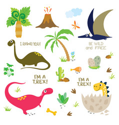 Cute dinosaurs set on white background vector