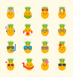 cute pineapple with face in summer beach theme vector image