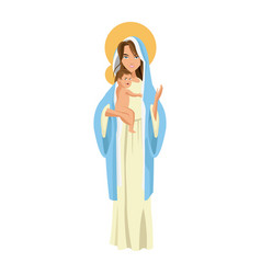 Cute virgin mary holding baby jesus cartoon vector
