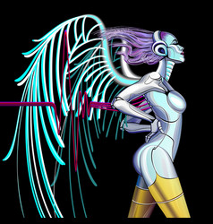cyber angel vector image