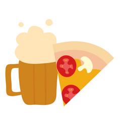 delicious italian pizza with beer jar vector image