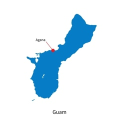 Detailed map of Guam and capital city Agana vector