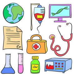 Doodle of element medical various vector