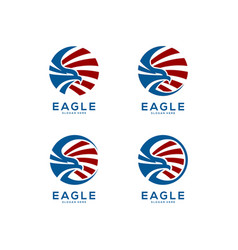 eagle head circle logo abstract set vector image