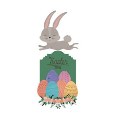 easter time frame with bunny on top and easter vector image