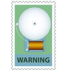 Electric bell on stamp vector
