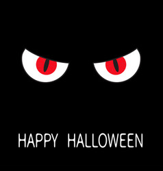 Evil red eyes in dark night angry cartoon vector