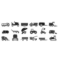 Farm agricultural machines icons set simple style vector