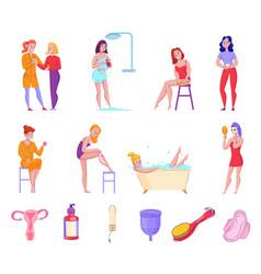 Feminine hygiene flat set vector