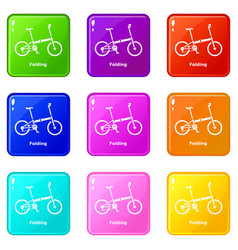 Folding bike icons set 9 color collection vector