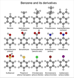 Formulas of benzene and its derivatives vector image