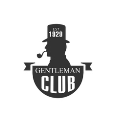 Gentleman Club Label Design With Man Profile vector image
