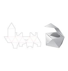 Gift box die cut template design vector
