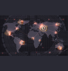 global bitcoin crypto currency blockchain vector image