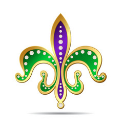 Golden purple and green fleur-de-lis vector