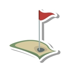 golf flag hole isolated icon vector image