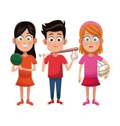 Group kids sport active vector